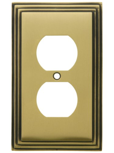 (House of Antique Hardware R-010II-MCSP-D-AB Mid-Century Duplex Outlet Cover - Single Gang in Antique Brass)