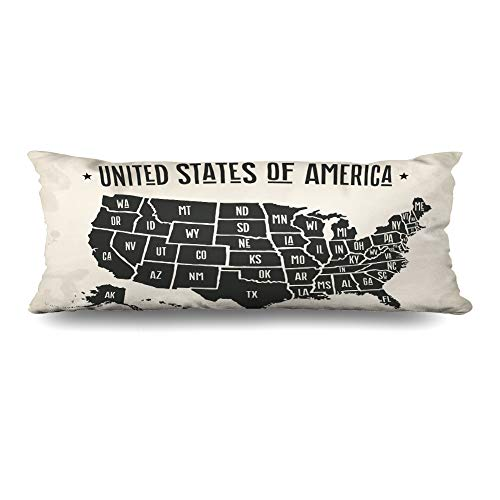 - Ahawoso Body Pillows Cover 20x54 Inches Geography USA Map United States America York Texas California Arizona Nevada State Decorative Cushion Case Home Decor Pillowcase