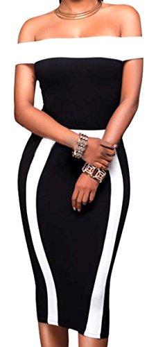 XQS Womens Off Shoulder Sexy Striped Bodycon Sheath Dress Black L