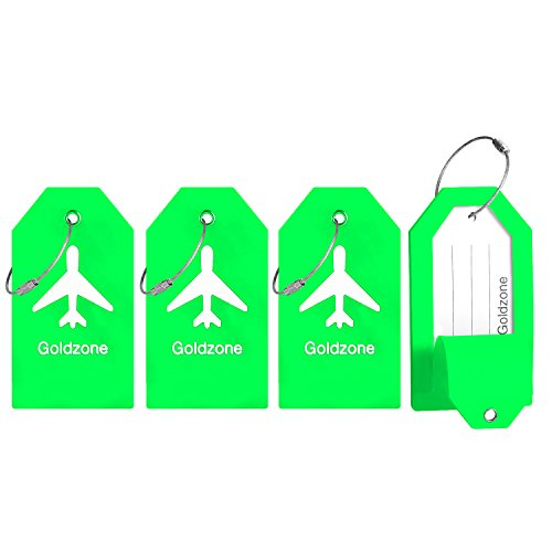 PVC Rubber Luggage Tags w/Full Privacy Flap,Great for Luggage Cases Identification by Goldzone (Green-4 Pack)