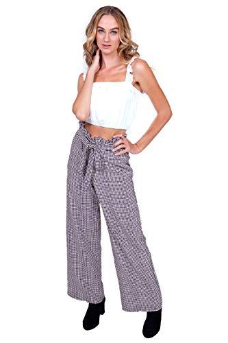 Bebop Women's Large, Crème/Black, Menswear Plaid Scuba Woven Palazzo Work Pants with Self Tie Belt