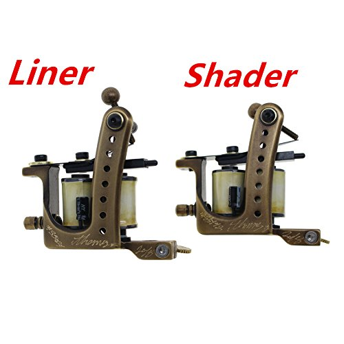 Thomas Coil Tattoo Machine Tattoo Gun Handmade Brass Frame Pack of 2 (Liner&Shader)