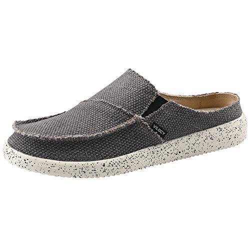 - VILOCY Men's Linen Slip-On Loafers Canvas Slide Sandal Walking Slipper Backless Driving Shoes Gray US9 EU43