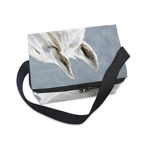 for Cooler Picnic Lunch Strap Portrait Watercolor Animal Horse Lunchbox White Bag Shoulder 7nwBUwq0O