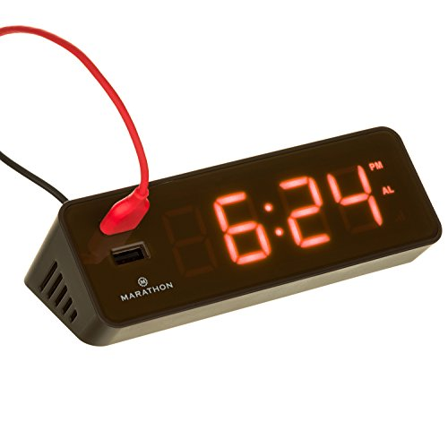 MARATHON CL030055CO LED Alarm Clock with Two Fast Charging, Front Facing USB Ports (Small Digital Clock With Seconds)