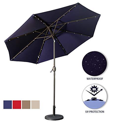 - Aok Garden LED Outdoor Umbrella,9 ft Patio Umbrella LED Solar Power with Push Button Tilt and Crank Lift Ventilation,8 Sturdy Ribs Non-Fading Sunshade,Navy Blue