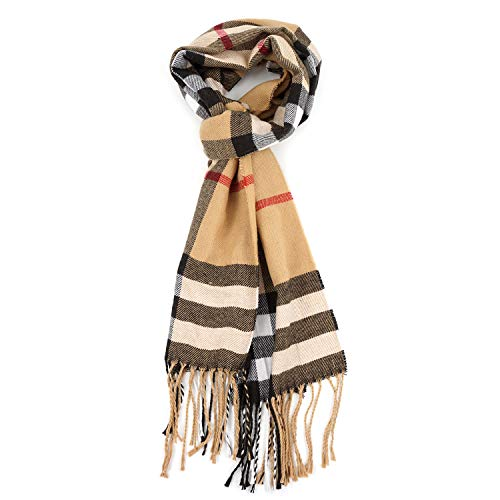 Men's Scarf Fashion Cashmere Feel Scarves for Men Winter Autumn with Tassels ()