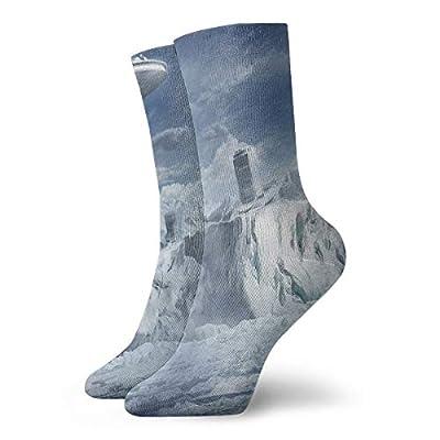 WEEDKEYCAT Fantasy Snow 3D City Adult Short Socks Cotton Cute Socks for Mens Womens Yoga Hiking Cycling Running Soccer Sports