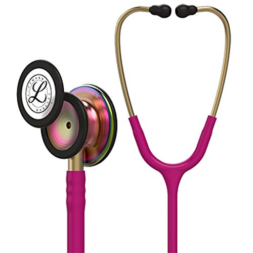 (3M Littmann  Classic III Monitoring Stethoscope, Rainbow-Finish, Raspberry Tube, 27 inch,)