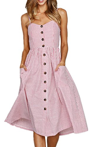 Angashion Women's Dresses-Summer Bohemian Spaghetti Strap Button Down Swing Midi Dress with Pockets, 0913 Pink stripped, Medium