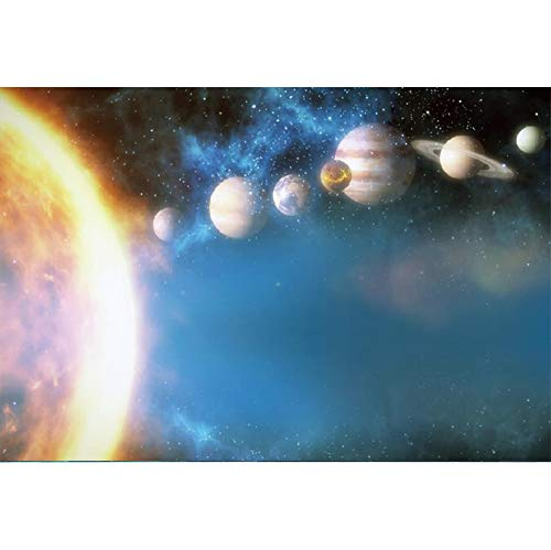 Leyiyi Universe Backdrop 7x5ft Photography Background Moon Earth Halo Astronomy Universology Solar System Spaceship Planet Astronomy School Students Video Props -