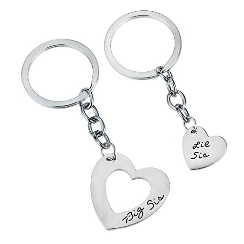 2PCs/Set Big Sis Little Sis Heart Charm Keychain Set Gifts For (Little Gifts Keychain)