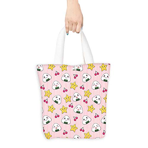 (Casual Shopping Tote BagHappy Crying Cute Cartoon Rice Balls Cherries Stars Pattern on Stripes Art Pink Reusable 100% Eco Friendly W11 x H11 x D3 INCH)