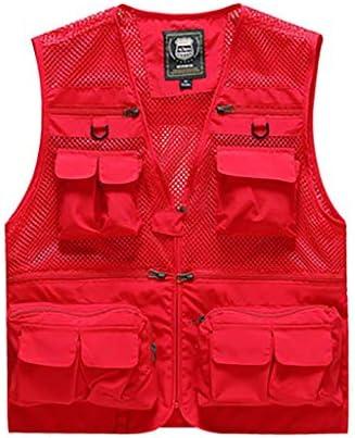 フィッシングベスト 屋外のマルチポケットのベスト写真の釣りのベストメンズベストの肩の薄いセクションのハイキング旅行ベストジャケット (Color : Red, Size : XXXXL)