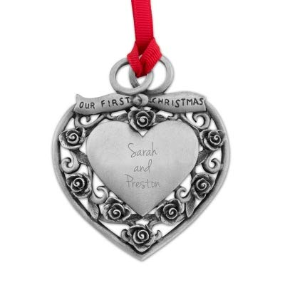 Things Remembered Personalized Genuine Pewter Our First Christmas Ornament with Engraving Included ()