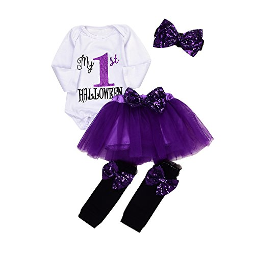 4Pcs Baby Girls My 1st Halloween Sequins Romper+Chiffon Tutu Skirt+Bowknot Leggings+Bunny Headband Outfit Set (Purple, 0-6M)]()