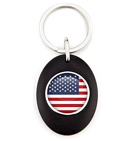 G1 Llavero Bandera de Estados Unidos | Llavero Acrílico Redondo con Moneda para Carro | Llavero
