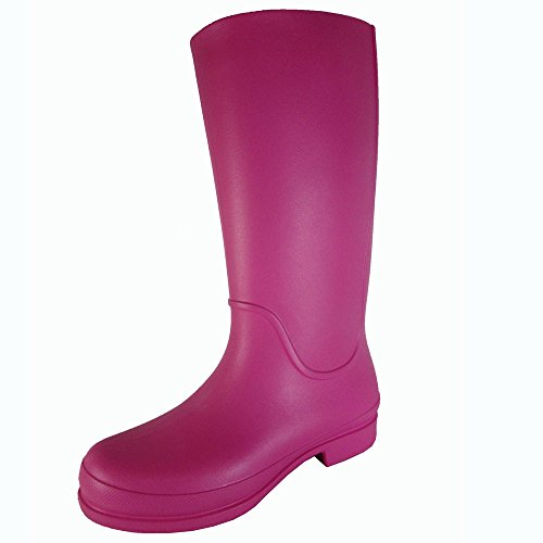 Croc Ankle Boot (Crocs Womens Wellie Waterproof Rain Boot Shoes, Fuchsia/Ultraviolet, US 9)