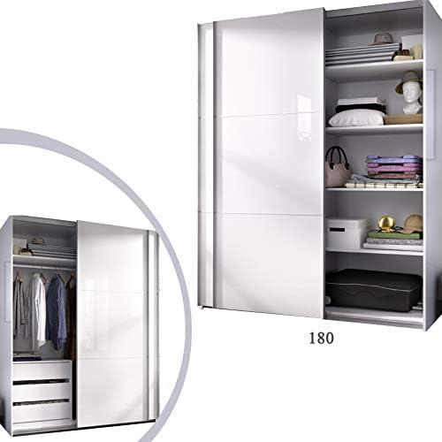 HABITMOBEL Armario 180 Dormitorio ropero, Estantes + Cajonera Color Blanco Brillo, Medidas: 180 Ancho x 204 x 65 cm de Fondo: Amazon.es: Hogar