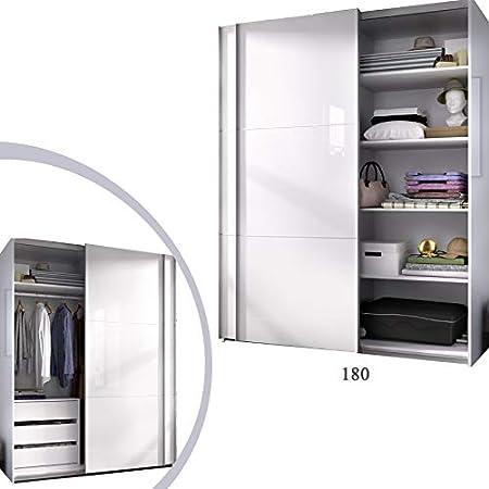 HABITMOBEL Armario 180 Dormitorio ropero, Estantes + Cajonera ...