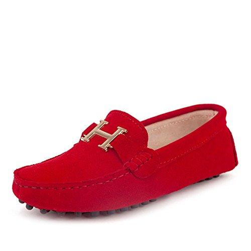 Faloaon Womens Mocassins Conduite Chaussure Daim Cuir Dames Slip On Red