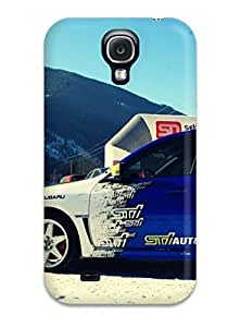 Galaxy Cover Case - Subaru Rally Blue Car Parked In Snow Protective Case Compatibel With Galaxy S4