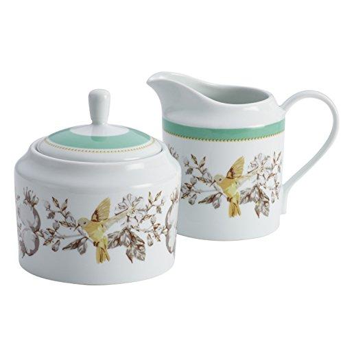 BonJour Dinnerware Fruitful Nectar Porcelain Sugar and Creamer Set, Print