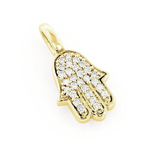 Gold Diamond Hamsa Pendant - 8