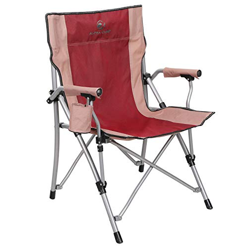 ALPHA CAMP Camping Chairs Oversized Support 300 lbs Ergonomic High Back Folding Steel Frame Padded Armrest Quad Chair with Cup Holder Portable for Outdoor, Carry Bag Included