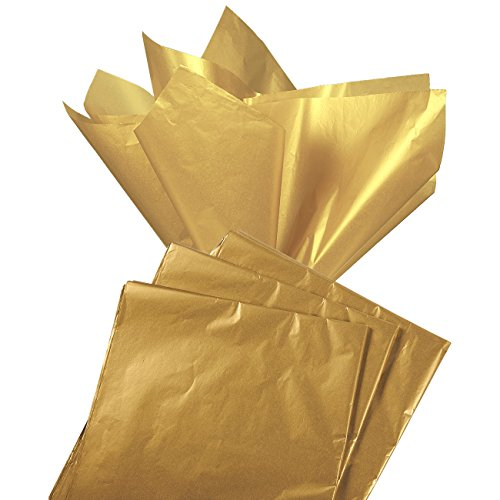 Gift Wrapping Tissue Paper – 60 Sheet Antique Gold Metallic Gift Wraps Color Tissue Papers Pack – Perfect for Gift Bags, DIY Crafts, Christmas, Holidays, Birthdays, 19.7 x 26 in.