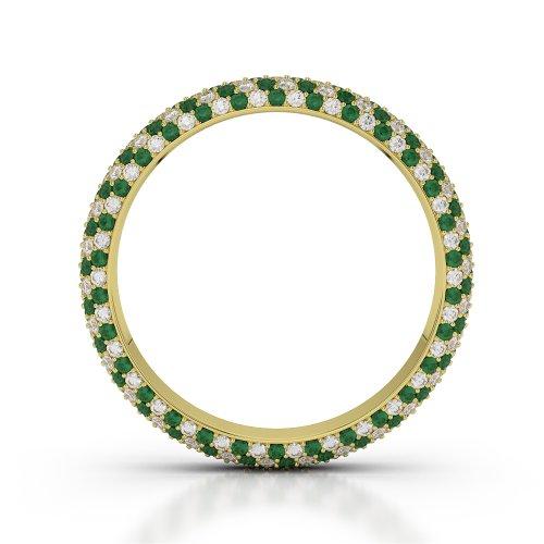 Or jaune 18carats 1,35CT G-H/VS sertie de diamants ronds découpé Émeraude et bague éternité Agdr-1115