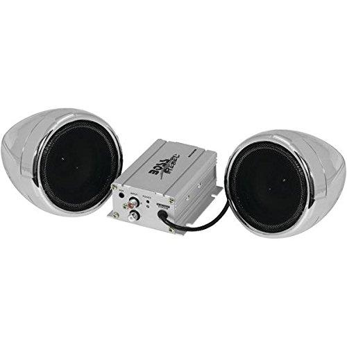 Boss Audio Mc420b 600 Watt Motorcycle All Terrain Speaker   Amp System  Silver  With Bluetooth R  Audio Streaming  15 5