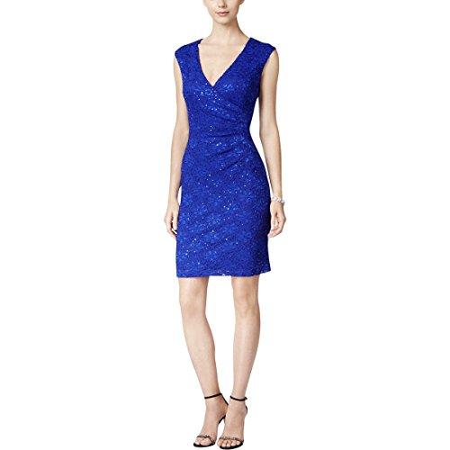 Dress Lace Blue Apparel Sheath Surplice Connected Women's qxwAWH4OBU