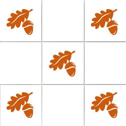 'Acorns' Kitchen Tile Sticker Set x36 stickers (BROWN)