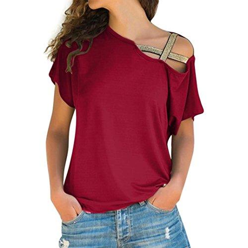 Crinkle Short Sleeve Blouse - NEWONESUN Clearance!!Women Casual Summer Loose Off Shoulder T-Shirt Short Sleeve Tops Blouse