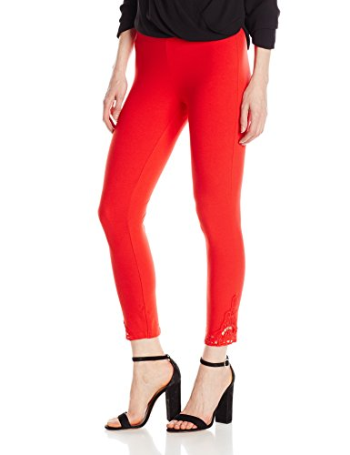 HUE Women's Wide Waistband Lace Trim Pique Capri, Red Alert, S