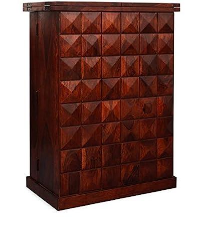 Louis Solid Wood Bar Unit Wine Cabinet in Honey Oak Finish Sheesham Wood by Made Wood