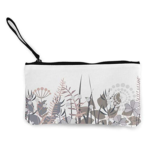 Decorative Floral Border With Forest Unisex Canvas 3D Print Pattern Coin Purse Wallets For Men And Women