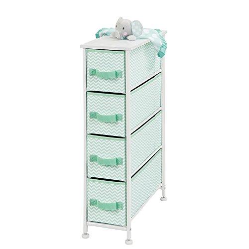 mDesign Narrow Vertical Dresser Storage Tower Furniture - Metal Frame, Wood Top, Easy Pull Fabric Bins - for Kids Bedroom, Hallway, Entryway, Closet, Dorm - Chevron Print, 4 Drawer - Mint Green/White