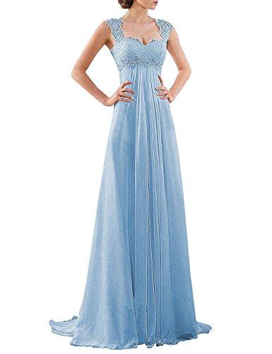 DYS Women's Empire Waist Bridesmaid Wedding Party Dress Lace Formal Evening Gown Light Blue US ()