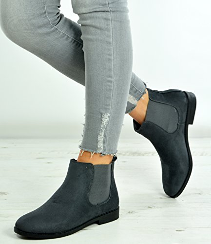 Cucu Fashion New Womens Ladies Slip On Ankle Boots Chelsea Low Flat Heels Faux Suede Classic Shoes Size UK 3-8 Grey Suede NfJ7qRik