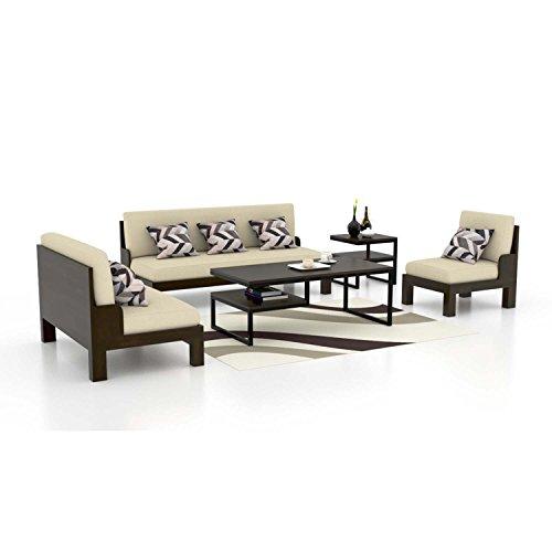 Funterior 3+2+1 Wooden Sofa Set Classy Fabric Grey
