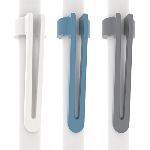 [3-Pack] Pen Pal Clip for Apple iPad and iPad Pro Pencil, White/Blue/Charcoal