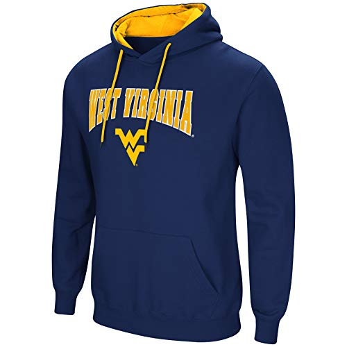 Colosseum NCAA Men's-Cold Streak-Hoody Pullover Sweatshirt with Tackle Twill-West Virginia Mountaineers-Blue-Large ()
