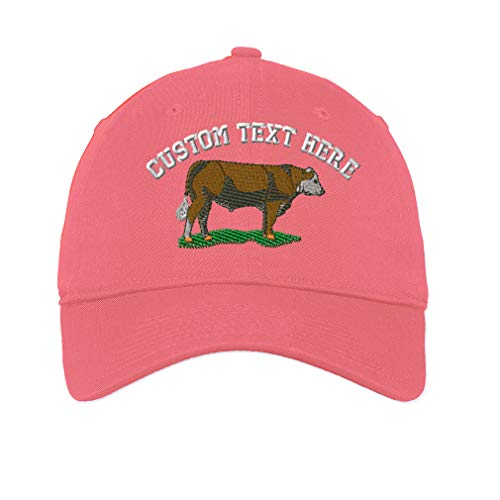 Custom Low Profile Soft Hat Hereford Embroidery Design Cotton Dad Hat Flat Solid Buckle Coral Personalized Text Here