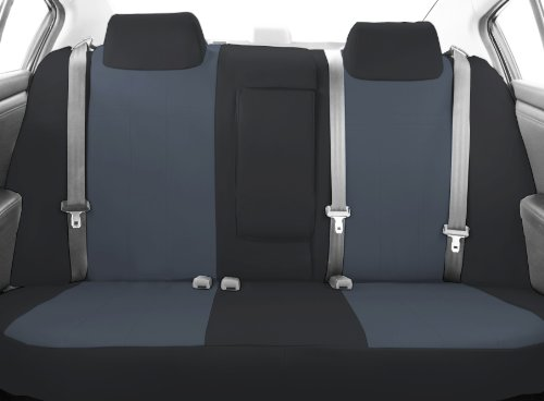CalTrend Middle Row 40/60 Split Bench Custom Fit Seat Cover for Select Toyota Highlander Models - DuraPlus (Charcoal Insert with Black Trim) -