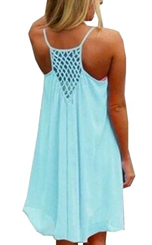 YUNY Women's Silk Chiffon Casual Loose Beach Slip Short Dress Light Blue 2XL Ombre Silk Chiffon Dress