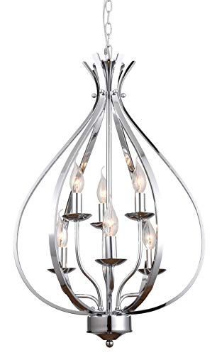 72 Inch Brushed Nickel Chain - ALICE HOUSE 6 Light Entryway Chandelier, Chrome Foyer Lighting Fixture, Dining Room Pendant Light with 72