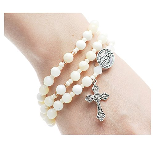 Shell Stretchable Bracelet (6mm Simulated Shell Jasper Beads Full Rosary Stretchable and Twistable Bracelet)