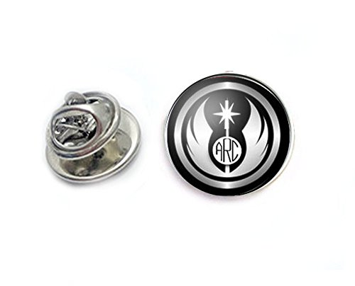 Black Jedi Monogram Tie Tack, Personalized Tie Pin